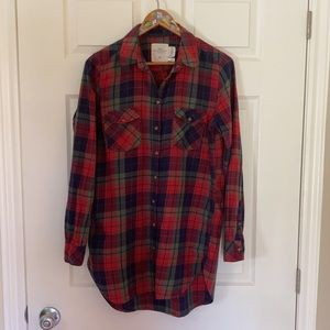 H&M Red Plaid Button-Down Tunic Shirt